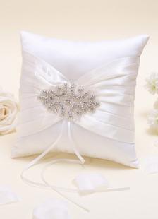 Almohada para anillos de satén con cinta