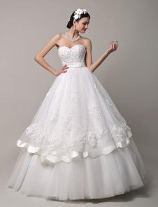 Tesoro prezzi in rilievo da sposa abito con gonna di pizzo bordo smerlato Milanoo