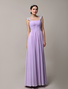 Long Lavender Chiffon Twisted Pleated Bridesmaid Dress With Straps