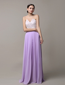 2016 Long Lavender Chiffon Open Back Bridesmaid Dress With Lace Bodice