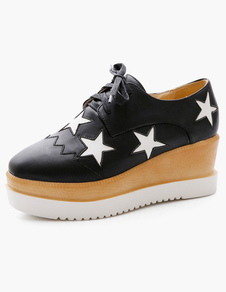 Image For Square Toe Stars Print PU Leather Wedge Shoes