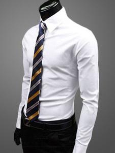 Algodón mezcla diaria vestido Shirtwith Turndown Collar camisas de manga larga