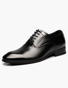 Black señaló dedo encaje zapatos de vestir de cuero