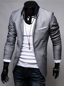 Americanas blazer casual hombre 2018 manga larga con bolsillo gris blazer