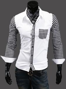 Image of Patchwork maniche lunghe camicia Casual cotone Blend che modella