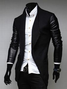 Americanas blazer casual hombre 2018 negro PU cuello vuelto chaqueta de algodón