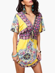 Image of Abito estivo donna Abito Dashiki Abito a maniche corte in Kimono