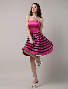 Image of Abito da Cocktail senza spalline una linea Satin Prom abito a strisce caldo rosa abito corto partito