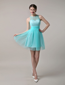 Tulle Sheer Bateau Short Bridesmaid Dress