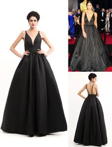 black-v-neck-a-line-draped-celebrity-gown