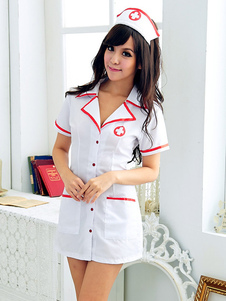 Sexy Uniforms Temptation White Synthetic Sexy Nurse Costume