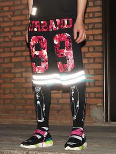 fashoin-black-cotton-reflective-hip-hop-dance-shorts