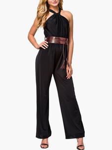 Charming Black Halter WideLeg Jumpsuit For Women