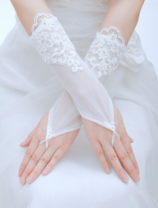 elegent-lace-applique-tulle-wrist-length-fingerless-wedding-gloves