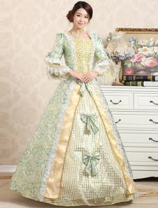 Victorian Ball robe Jacquard Floral vert volant Royal de costumes rétro féminin s'incline hiérarchisé Vintage princesse Costume Halloween