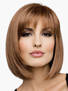 Image of Brown 16 pollici Pixies e Boycuts naturale medio parrucca