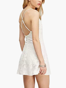 Beautiful Straps Neck Cross Back Backless Acrylic Mini Dress