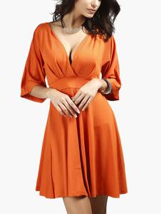 Coton mélange Backless robe chasuble évasée
