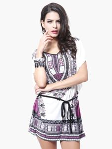 Image of Manica corta stampata in Chiffon Mini abito attraente