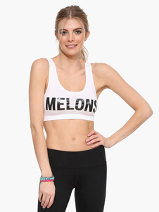 Blanca Letras cultivo deportivo Top imprimir algodón Backless Womens