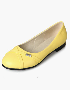 Image of Ballerine da donna a punta tonda gialla Slip On Flat Pumps