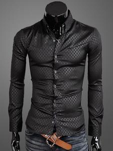 Camisa Casual de Collar cobertura manga larga algodón hombres