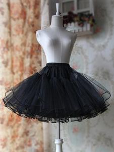 Noir Blanche A-ligne Organza Jupon  Lolita unicolore doux