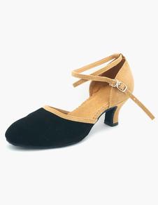 Image of Qualità cinturino alla caviglia punta a mandorla camoscio pelle sala da ballo scarpe