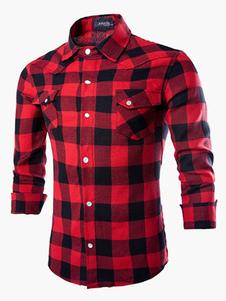 Algodón que forma largas mangas Stand cuello camisa Casual para hombres