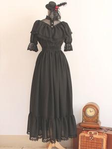 Image of Lolita abito nero in cotone con pieghettature per uomo
