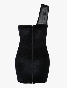 Image of Vestito corto di velluto nero sexy donna