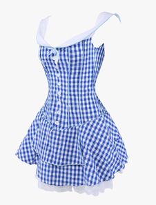 Vestido plisado a cuadrados con tirantes de moda