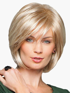 Bobs corto elegante rubia pelo humano de la mujer de la peluca en Rubio