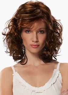 Image of 20 pollici marrone arruffati spalla-lunghezza parrucca donna In