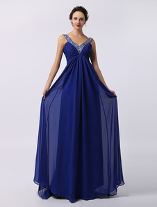 Image of Royal Blue Double V-Look in Chiffon con cinghie completamente in