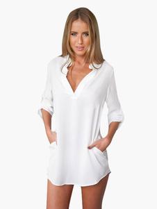 Blanca blusa 2018 mangas de gasa cómoda para las mujeres