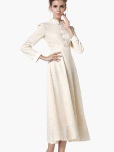 Image of Collo alto volant maniche lunghe vestito per donna