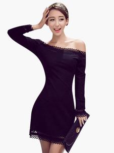 Modellatura Mini abito della donna attraente pizzo senza maniche