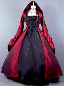 Image of Costume Halloween 2018 Abito da strega a manica lunga Costume Salem Witch popeline vittoriano