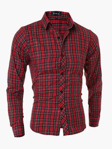 Algodón rojo formando largas mangas Stand cuello camisa Casual para hombre