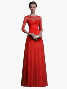 Image of Vestiti rossi lunghi da promenade dell'innamorato del merlet