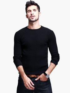Girocollo maniche lunghe in maglia di Pullover a maglia cotone Blend Casual uomo