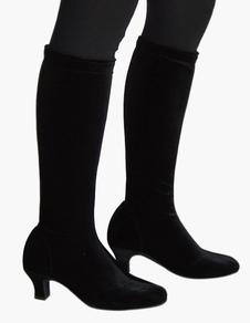 Acentuado de rodilla longitud terciopelo calidad salón de baile zapatos