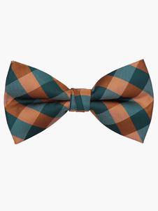 Calidad pajarita poliéster tela escocesa para hombres