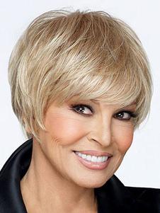 Image of Breve parrucca dorata capelli umani statico Bobs femminile