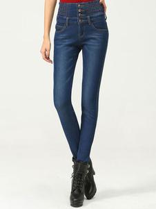 casual-high-waist-bottons-denim-pants