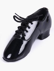 Image of Qualità nero morbida suola mandorla Toe PU brevetto superiore sala da ballo scarpe per tipo
