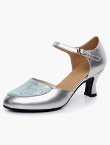 Image of Punta a mandorla bicolore caviglia cinturino cuoio elegante sala da ballo scarpe