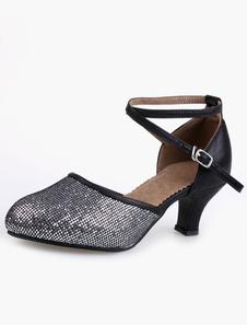 Image of Punta a mandorla suola morbida professionale caviglia Strap Glitter ballo scarpe