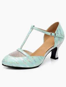 Image of Moda T-tipo bendaggio punta a mandorla cuoio scarpe da ballo
